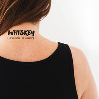 """Temporary Tattoo """"Drink Whiskey"""" Party Tattoo 