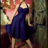 The Sweetie Dress In Midnight Blue Textured Satin by Heartbreaker Fashion | Pinup Girl Clothing