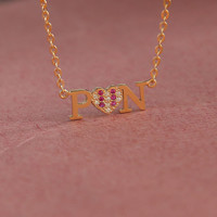 Name Necklace With Heart Crystal Stones - Diamond Name Necklace - Lover Gift