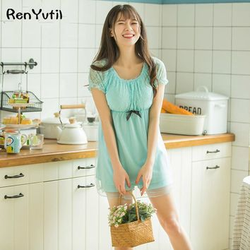 RenYvtil Classical Vintage Princess Chiffon Modal Lace Blue Nightshirt Summer Sleepwear Pajamas Girl's Mori Cute Nightgown Sets