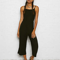 Don't Ask Why Ribbed Wide-Leg Jumpsuit, Black