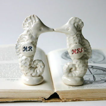 Porcelain Seahorse Wedding Cake Topper - MR and MRS - French White - Handmade Ceramic - Ready to Ship