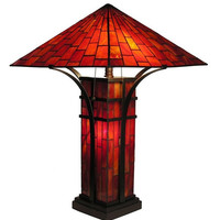 Tiffany Style Stained Glass Mission Double Lite Table Lamp