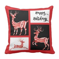 Happy Holidays, Candy Cane Reindeer Red Pillow