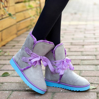 Fashion Women's Bowknot Shoes Warm Winter Snow Casual Boots