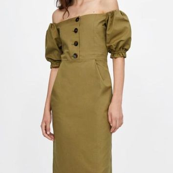 New Army Green Single Breasted Pleated Ruffle Slit Off Shoulder Backless Lantern Sleeve Casual Cute Maxi?Dress