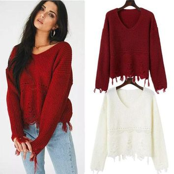 DCKL9 Women's Fashion Sweater Ripped Holes Knit Hollow Out Bottoming Shirt [31069339674]