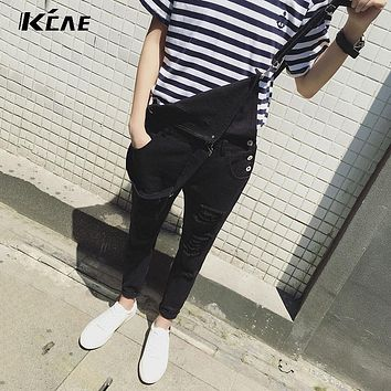 Male Suspenders 2016 New Brand Casual Denim Overalls black White Ripped Jeans Pockets Men's Bib Jeans Boyfriend Jeans Jumpsuits