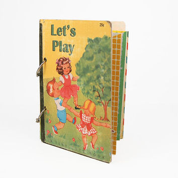 Child's retro premade mini album / scrapbook / vintage children at play
