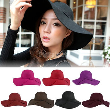 Sun Hats Women Fashion 2014 New Lady Wide Brim Wool Felt Bowler Fedora Hat Floppy Cloche Beach Hats Black SV004510 (Color: Black) = 1712753156