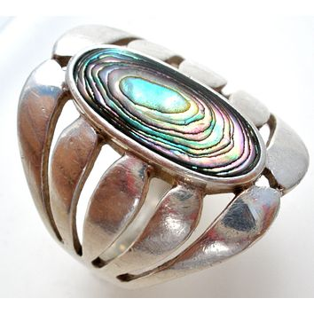 Wide Sterling Silver Ring with Abalone Shell