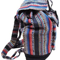 Shangri-La Nook Hobo Hippie Woven Ethnic Fabric Cotton BackPack Handmade Nepal