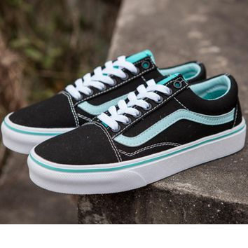 """VANS""Low shoes mint green + black shoes sneakers tide restoring ancient ways"