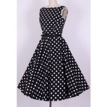Vintage Scoop Neck Pleated Polka Dot Sleeveless Women's Country Black Dress