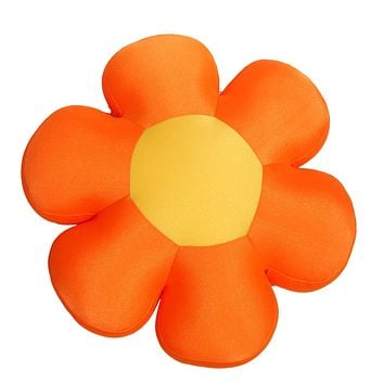 Fun Cute All Year Round Super Squishy & Soft Flower Decorative Throw Micro-Bead Cushion Pillow - Orange - 18""