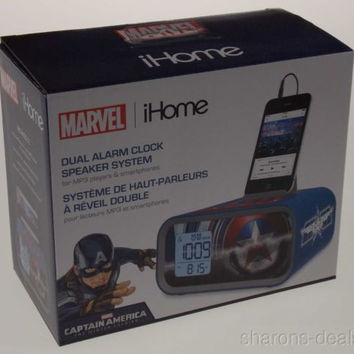 Alarm Clock Marvel iHome Captain America Dual Speaker System MP3 Smartphone LCD