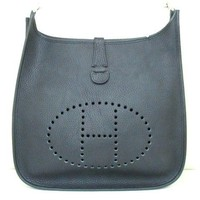 Authentic HERMES Black Evelyne GM Vachette Crispe Fjord Shoulder Bag