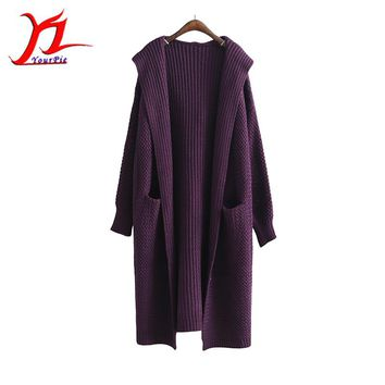 Autumn Winter Women Hooded Midi Pattern Cardigan Knitwear Outer Thick Solid Color  Pocket High-end