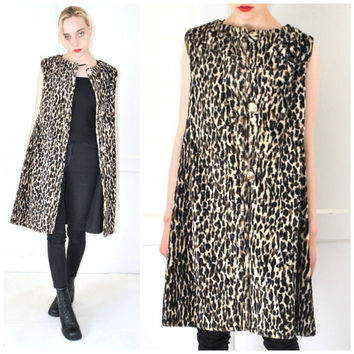60s MOD leopard print sleeveless jacket vintage 1960s long faux FUR vest os
