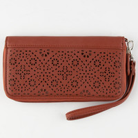 T-Shirt & Jeans Perforated Zip Around Wallet Mahogany One Size For Women 25140141101