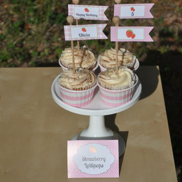 Strawberry Birthday Party Personalized Cupcake Toppers/Flags