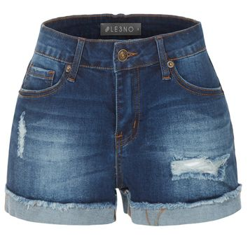 LE3NO Womens Stretchy Distressed Medium Rise Cuffed Denim Shorts with Pockets