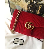 GUCCI Trending Stylish Velvet Leather Metal Chain Handbag Shoulder Bag Crossbody Satchel Red I/A