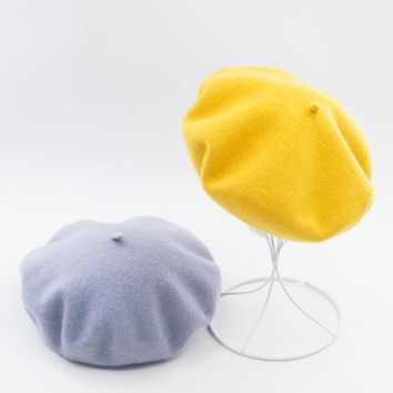 Muchique 100% Wool French Beret for Girls Retro Vintage Winter Hats for Women Fashion Warm HatsTop Quality 675002