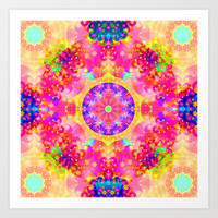Pink and Yellow Kaleidoscope Fractal Pattern Art Print by Hippy Gift Shop