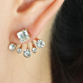 Ear jackets, Rectangular diamante ear jackets, princess cut diamante ear jacket, diamante ear jackets,diamante double earrings