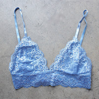 triangle lace bralette - wild blue