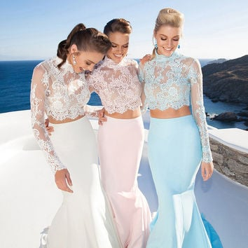 Real Photo Two Piece Blue Mermaid Beaded Sequins Long Sleeve Lace 2 Piece Prom Dresses 2017 vestido de festa Celebrity Gown YSE8