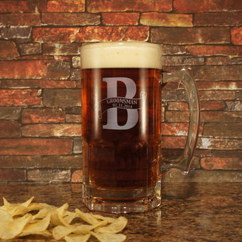 BIG TEXAN Deep Carved Beer Mug with Wedding Monogram Design Options & Font Selection (Each - 34 oz. Texas Size Extra Large Beer Tankard)