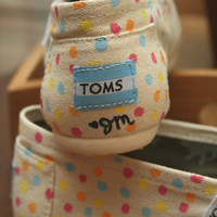 Customizable Dotty-Heart Hand-Painted TOMS by Painted Travels