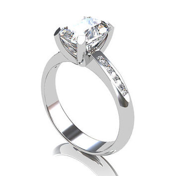 4.52ct radiant cut white sapphire ring, engagement ring, diamond, platinum, white sapphire ring, emerald cut, solitaire