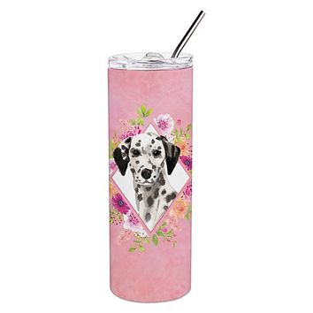 Dalmatian Pink Flowers Double Walled Stainless Steel 20 oz Skinny Tumbler CK4242TBL20