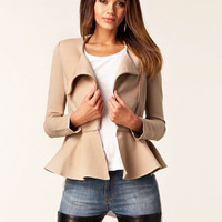 Side Zip Long Sleeve Peplum Top