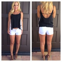Lace On the Side Tank - BLACK
