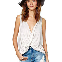 White Backless Wrap Tank Top with V Neck