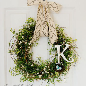 Spring Greenery Wreath, Personalized Wreath, Front Door Wreath, Bird Nest Wreath, White Flower Wreath, Spring Wreath, Summer Wreath