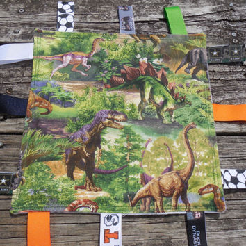 Dinosaur Tag Blanket,  Lovie Blanket, Sensory Ribbon Blanket, Baby Gift / Sensory Toy / Ribbon Tag Toy