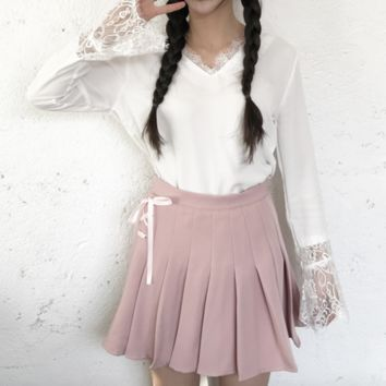 Lace Up School Girl Skirt- Pink
