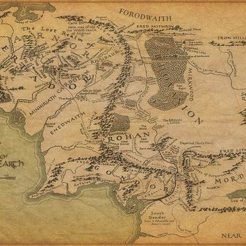 Middle Earth Vintage Map The Lord Of The Rings movie art wall frame posters and Print Silk Fabric for home Decor
