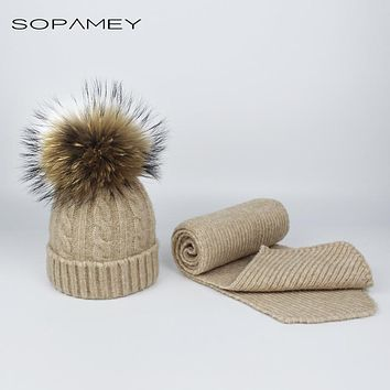 Children knitted Scarf and Hat Set Luxury Winter Warm Hats Scarves with Real Fur pompom Beanie for Boys and Girls 0-3 years