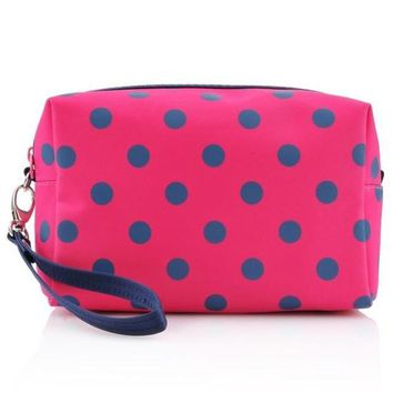 Polka Dot Travel Makeup Bag