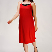 Designer Unique Red Pencil Dress With Lace/Cocktail Dress /Evening Dress /Red Dress /Elegant Dress /Feminine Dress /Sexy Dress /Party Dress