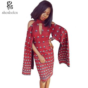 Summer autumn 2017 African dresses for women Ankara clothing wax batik print Can be worn on both sides fashion sexy party dress