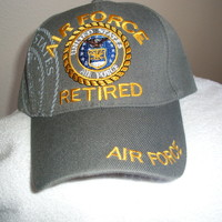 Air Force Retired w/Emblem & Shadow on a Slate Gray ball cap w/free shipping