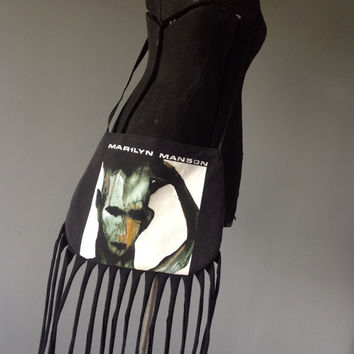 MARILYN MANSON - Upcycled Rock T-Shirt Fringe Purse - ooak