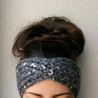 Silver Leaf Turban Ear Warmer Headband, Warm and Sparkly Ear Warmer.  Turban Style Ear Warmer, Knit Turban, Silver and Grey, Knit Ear Warmer